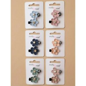 2 x Fabric Floral Hair Clips Dimante | Pack of 2 Blue, Navy, Pink, Peach, Green