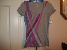 CONVERSE JUNIOR'S SIZE XS/XP T-SHIRT PULLOVER KNIT TOP CAP SLEEVES GRAY PURPLE