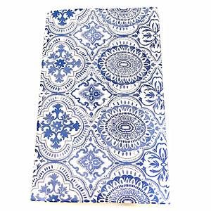 Vinyl Tablecloth Flannel Backed Assorted Sizes Blue White Umbrella Hole w/Zipper