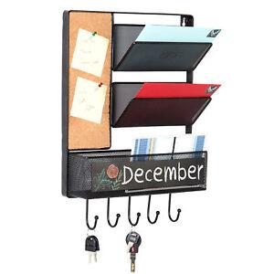 Wall Mounted Mesh Metal Hanging Mail Sorter, Storage Basket w/ Chalkboard
