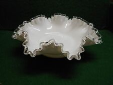 Fenton Vintage Glass  Silver Crest large serving bowl ruffled edge 1950s