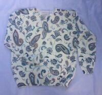 Alfred Dunner White Paisley Long Sleeve Beaded Sequin Sweater Size S Raglan