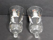 """Home Interiors Embossed Snowman Votive Cups (2) 6"""" Tall Excellent Condition"""