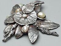 Charlotte Ehinger Schwarz große 925 Silber Brosche Seerosenblatt Perlen /A321