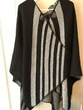 Soft Surroundings Whistler Poncho Reversible Black Gray Warm Toggle Sweater Cape