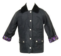 Crewcuts Girls' Barbour Printed Beadnell Jacket Waxed Cotton Navy XxS 02389