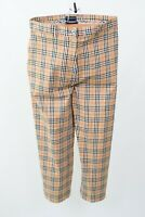Women's BURBERRY GOLF Pants Trousers Nova Check Plaid Capri Pant Tan UK-12 USA 8
