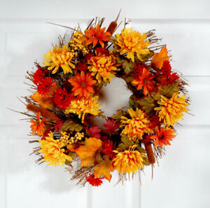 """Fall Autumn Floral Polyester Vibrant Thanksgiving Door Wreath Decoration 18"""""""