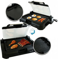 Indoor Grill Griddle With Removable Glass Lid Electric Bbq Smokeless Reversible