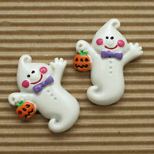 "US SELLER - 10 pcs  x (1 3/8"") Resin Smiley Ghost w/Pumpkin Flatback Beads SB515"