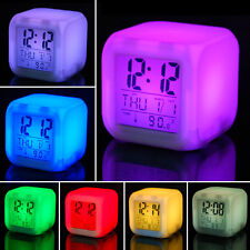LED Colour Changing Digital Alarm Clock Thermometer Date LCD tempreature change