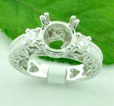 Antique Inspired 1.76 ct 18k White Gold Semi Mount Natural Diamond Ring
