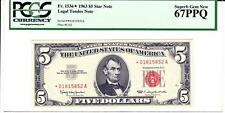 Fr. 1536 (*A Block) 1963 $5 'STAR' PCGS 67 PPQ Superb Gem New STUNNING!!!