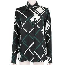 Jil Sander Black White Green Oversize Check Pattern Blouse Shirt FR38 UK10
