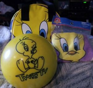 Tweety Bowling Ball with bowling bag, and a tweety towel. The ball  used.