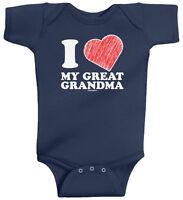 I Love My Great Grandma Infant Baby Bodysuit Boys Girls Heart Valentine's Day