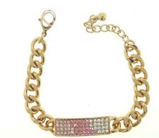 GORGEOUS I.D. LINK STYLE PINK & CLEAR RHINESTONE TAG 8-INCH GOLD-TONE BRACELET