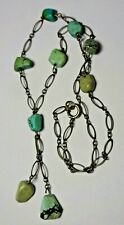 Original Czech Art Deco Hubbell Beads & Brass Chain Necklace with Sterling Clasp