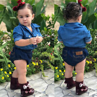 2pcs Toddler Kids Baby Girls Denim Shirt+Pants Shorts Jeans Outfits Clothes Set