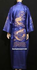 Handmade Embroidered DRAGON Design DOUBLE HAPPINESS Silk Satin Kimono Robe, Navy