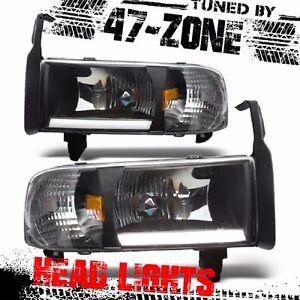 For 94-02 Dodge Ram 1500 2500 3500 LED Bar Black Housing Headlight Lamp