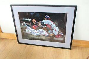 Framed Terry Rose Acclaimed Action Artist Baseball print signed