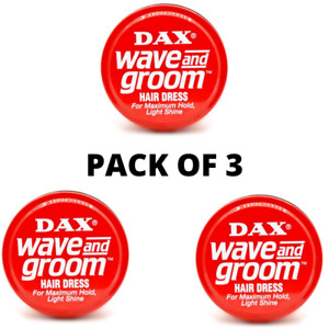 3 X DAX WAX RED WAVE AND GROOM FOR MAXIMUM HOLD, LIGHT SHINE 99G TIN + TRACK DEL