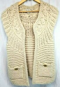 Hand Knit By Dollie Anthropologie Wool Blend Chunky Knit Sweater Vest Size M/L