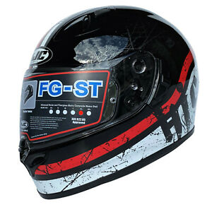 HJC FG-ST Labi Helm Motorradhelm Schwarz Weiß Rot Integralhelm MC1 Gr. XL