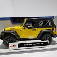 Maisto 2014 Jeep Wrangler 1:18 Special Edition Diecast Car. Black/Yellow