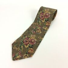Liberty Of London Neck Tie Green Silk Floral Made In USA Career Dress