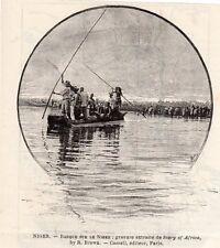 IMAGE 1893 PRINT NIGER BARQUE SUR LE NIGER RIVER
