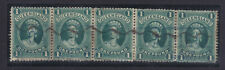 Qld 1 Pound Green Strip Of 5 With The Rare Re Entry Variety 2Nd Stamp.