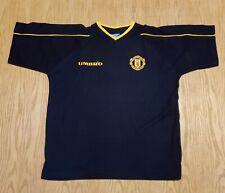 Vtg 90s Umbro Manchester United Sharp navy blue heavy t-shirt size Large