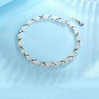 Women Solid Silver Bracelet 925 Roman Chain Crystal Bangle Wedding Jewelry Gifts