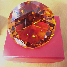 60mm Cut Glass AMBER Crystal Diamond Home Decoration A Nice Gift IN BOX
