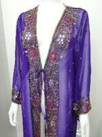 NEW SEQUINS  LONG BLAZER TOPS WEDDING PURPLE PARTY PERFORMANCE COVER UP TV  LOVE