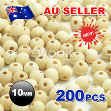200pcs 10mm Round Wood Spacer Bead Natural Unfinished Wooden Beads Ball Teething