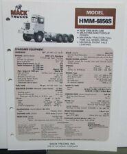 1976 1977 Mack Trucks Model HMM 6856S Diagram Dimensions Sales Brochure Original
