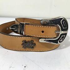 NOS Vtg NOCONA Tan Leather Cowboy SOUTH Western ANIMAL CONCHO Belt NAVAJO 28-30