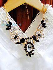 "NEW Black Resin Crystal Bubble Bib Statement Bubble Necklace Women's Party 18"""