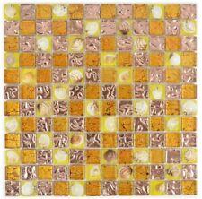 Mosaico Tessere vetro traslucido Crystal shell arancio cucina 82B-070 | 1 foglio