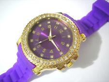 Bling Bling Big Case Rubber Band Ladies & Girls Watch Purple Item 2530