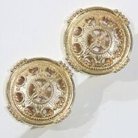 Vintage signed Monet round button maltese cross center gold tone clip earrings