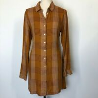 Forever 21 Women's Large Plaid Long Sleeve Dress Tunic Button Up Collared Belted