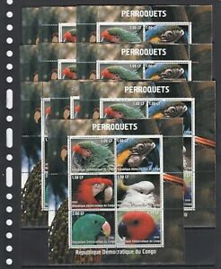 Parrots Birds 2000 Congo  MNH 6 v Sheet perf X 10 Wholesale lot