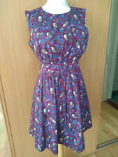 Emily & Fin Retro Vintage 1950s 60s Style Purple Bird print Dress Sz 14