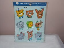 Vgt 1986 Decoral Handpainted Waterslide Decals Animals Faces A-81 New Old Stock