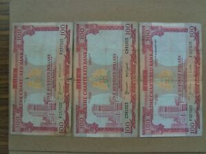 3 Pcs Bank of Standard Chartered $100 Banknotes~F-VF