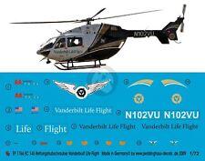 Peddinghaus 1/72 EC145 Helicopter Markings N102VU Vanderbilt LifeFlight 1766
